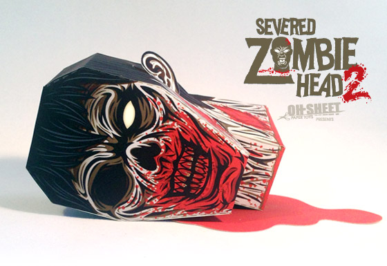 Severed ZOmbie Head Paper Toy v2