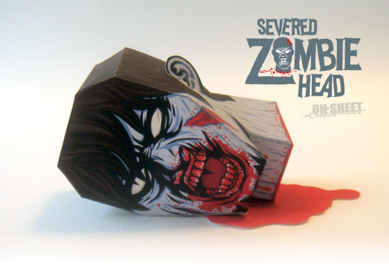 Severed Zombie Head Paper Toy